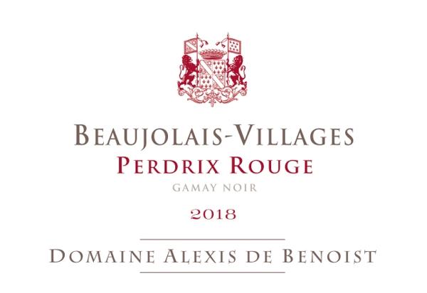 Etiquette Perdrix Rouge Beaujolais-Villages 2018 Alexis de Benoist